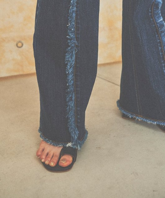 Fringe Flare Denim Pants