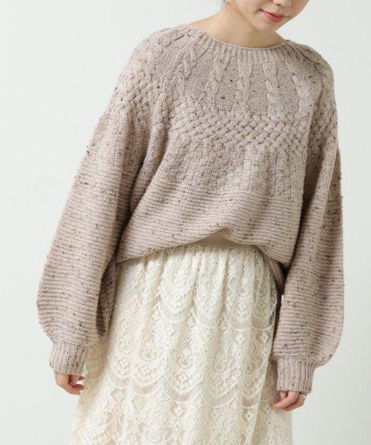 ネップヤーン求心風柄編みプルオーバー