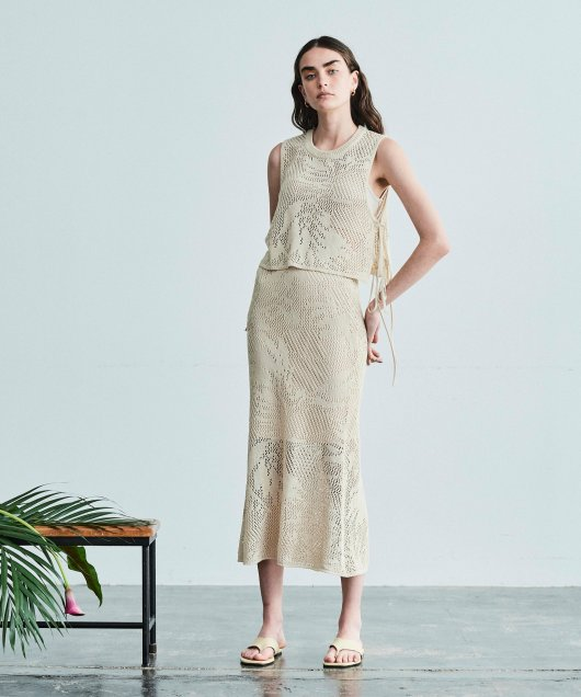 Leaf Open Work Skirt