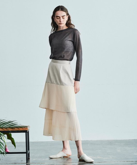 Pleats Tiered Skirt